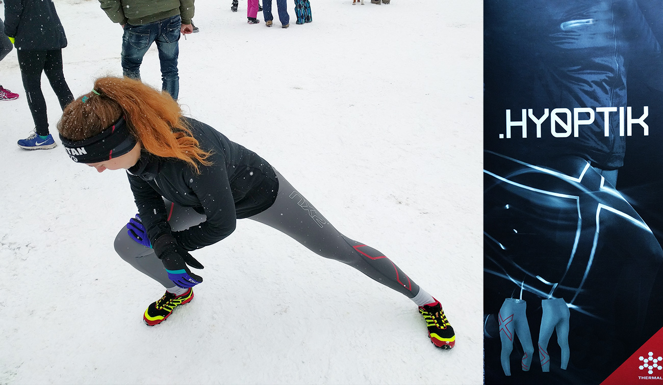 Racing in the 2XU Hyoptik Thermal Compression Tights