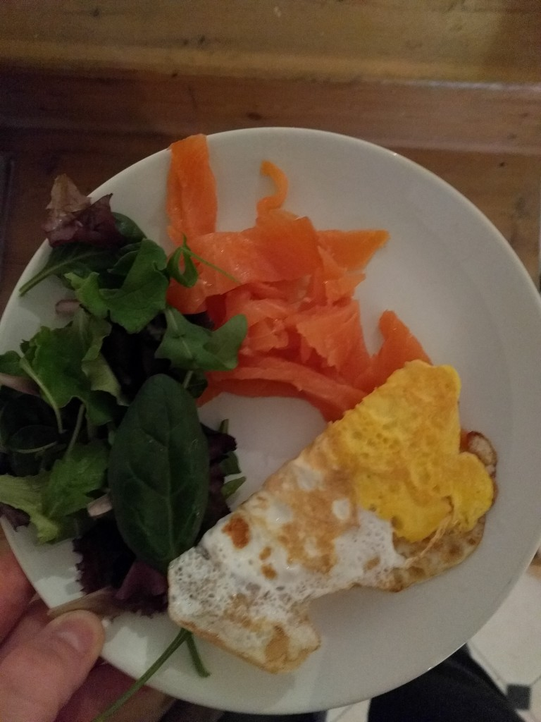 Meal 1, Client A - Breakfast - Smoked salmon, fried egg and leafy greens